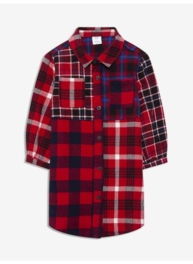 Gap Ekose Patchwork Gömlek Elbise Kırmızı